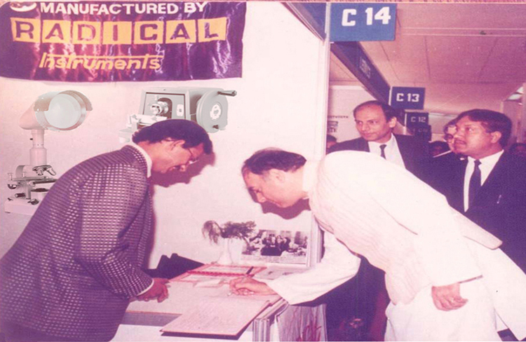 Our Former Prime Minister Late Sh. Rajiv Gandhi inspecting our instruments and giving good wishes during Vintage in New Delhi at Pragati Maidan, December 1984