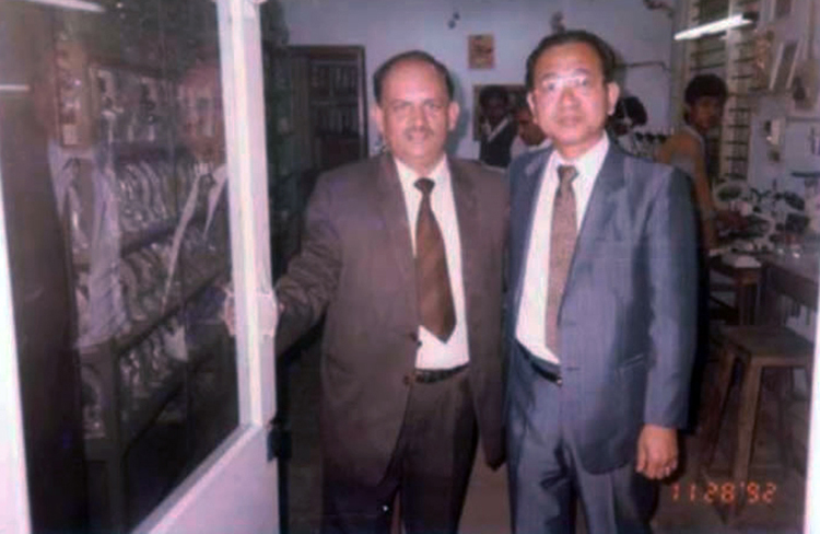 Mr. NOBORU KATO President CARTON OPTICAL INDUSTRIES, LTD. JAPAN visiting our factory  during November 1992 Our CEO Mr. Ranjit Singh is along with him.
