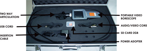 borescope with Accessories and Brief Case
